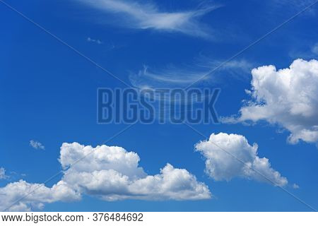 Blue Sky Background With Clouds. Blue Sky With Cloud Closeup.