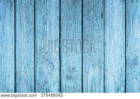 Old Peeling Paint Texture. Grunge Cracked Wooden Wall Background. Blue Color Weathered Surface. Brok