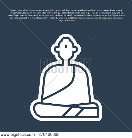 Blue Line Buddhist Monk In Robes Sitting In Meditation Icon Isolated On Blue Background. Vector Illu