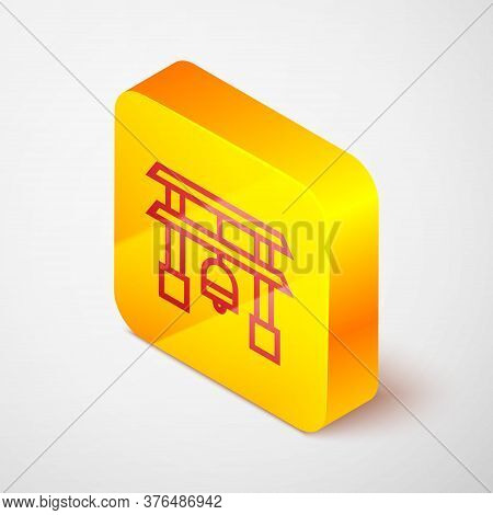 Isometric Line Japan Gate Icon Isolated On Grey Background. Torii Gate Sign. Japanese Traditional Cl