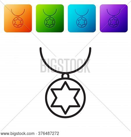 Black Line Star Of David Necklace On Chain Icon Isolated On White Background. Jewish Religion. Symbo