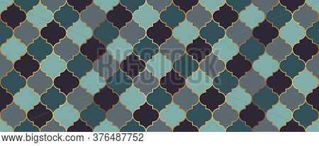 Ramadan Traditional Golden Mosque Grid. Seamless Moroccan Ornament Eid Mubarak Islam Decoration. Ram