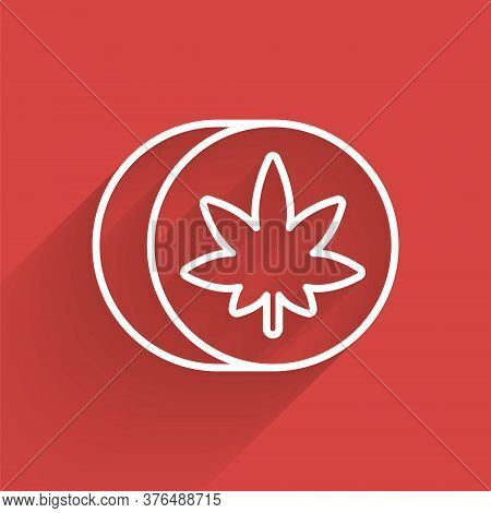 White Line Herbal Ecstasy Tablets Icon Isolated With Long Shadow. Vector Illustration