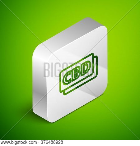 Isometric Line Cannabis Molecule Icon Isolated On Green Background. Cannabidiol Molecular Structures