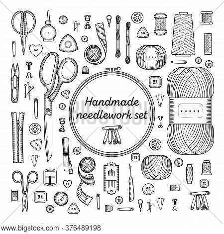 Sewing Accessories Set. Handmade, Sewing, Embroidery, Needlework Supplies On A White Background.