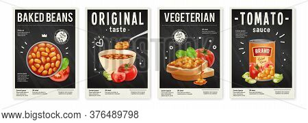 Tin Bowl And Toast With Baked Beans In Tomato Sauce Realistic Posters Set Isolated Vector Illustrati