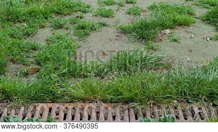 Background Of Old Rusty Metal Drain Grid Beside Patchy Grass