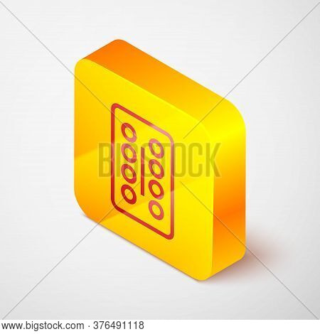 Isometric Line Pills In Blister Pack Icon Isolated On Grey Background. Medical Drug Package For Tabl