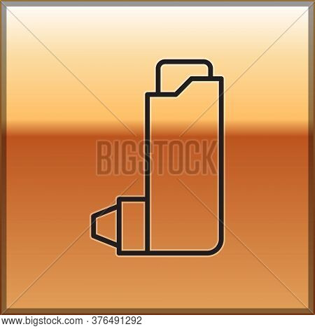 Black Line Inhaler Icon Isolated On Gold Background. Breather For Cough Relief, Inhalation, Allergic