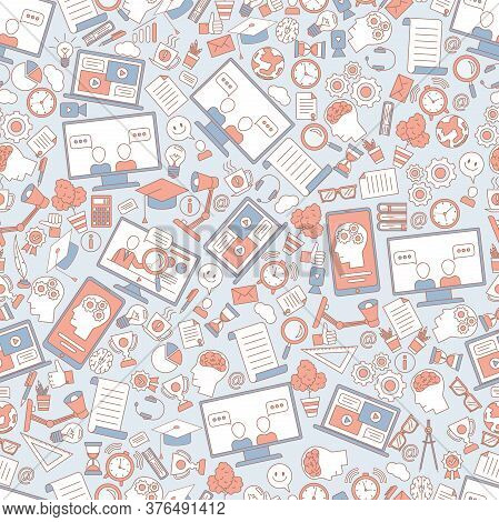 Education Seamless Pattern. Learning And Studying Items Cartoon Outline Background. Computer, Laptop