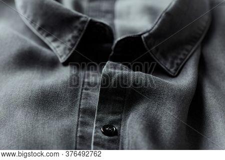 Close Up Of Dark Men's Shirt. Fashion