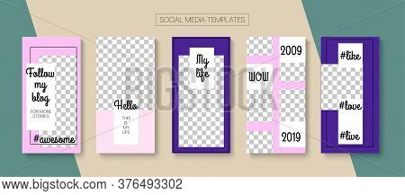 Modern Stories Vector Background. Simple Sale, New Arrivals Story Layout. Blogger Minimal Frame, Soc