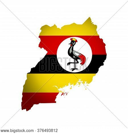 Vector Isolated Illustration With Ugandan National Flag With Shape Of Uganda Map (simplified) Includ