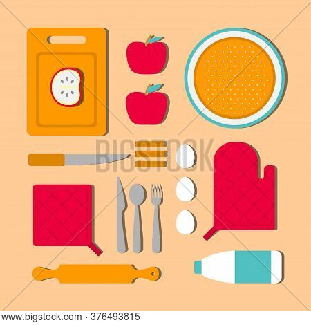 Vector Illustration Concept With Knolling Food To Cook Apple Pie. Ingridients As Cinnamon, Eggs, Mil