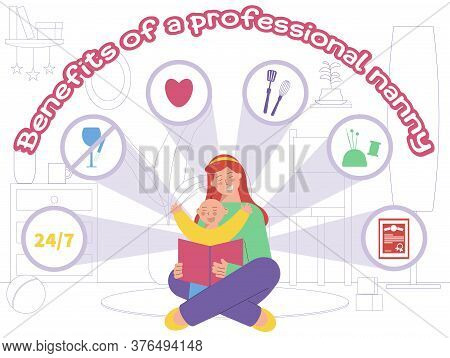 Babysitter Service Flat Composition With Living Room Silhouette Background Child With Nanny And Icon