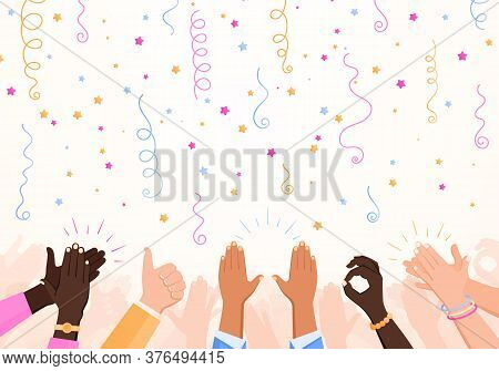 Clapping Ok Heart Hands Applause Party Composition With Set Of Confetti Stars And Human Hand Images