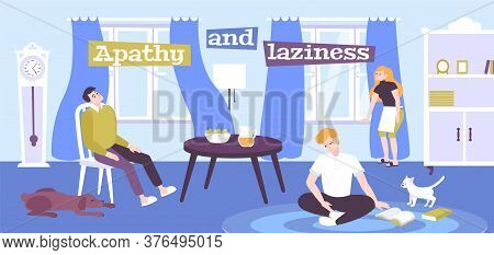 Apathy And Laziness Emotions Flat Poster With Depressive People Staying Home Vector Illustration