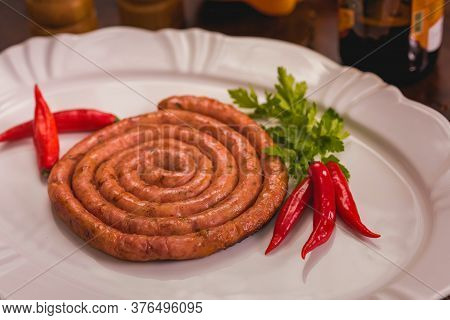 Ready To Serve Pork Sausage Barbecue In White Plate