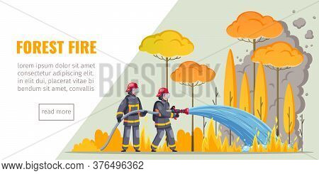 Firefighters Horizontal Banner With Cartoon Images Of Firemen Suppressing Forest Fire Text And Read