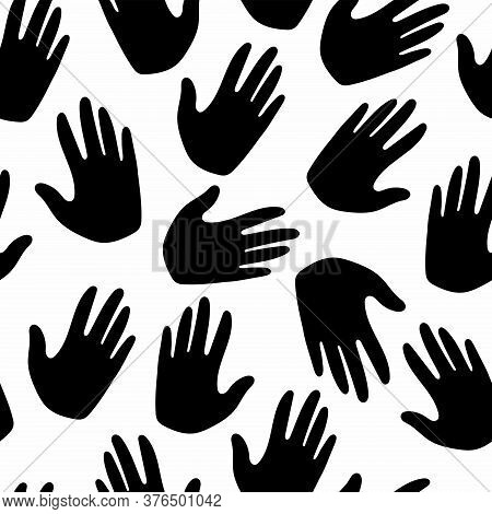 Handprint Silhouette Seamless Pattern. Creative Design Textile, Wrapping, Wallpaper Vector Texture.