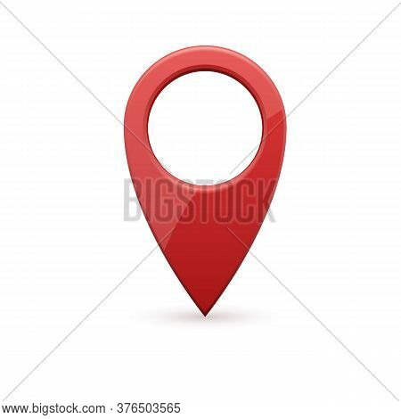 Glossy Red Realistic Modern Map Pointer. Map Pointer 3d Pin.