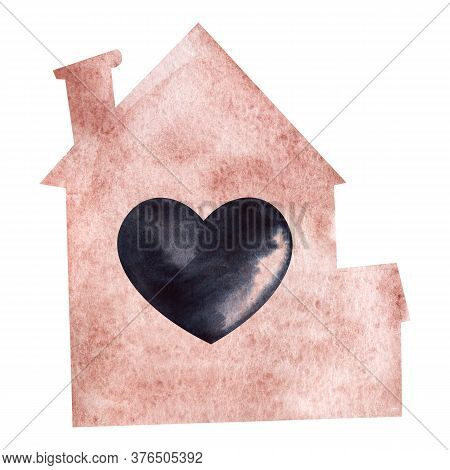 Watercolor Illustration In Shape Of Pink House With Chimney And Big Black Heart In The Middle. Handm