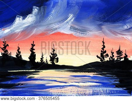 Beautiful Watercolor Landscape Of Soft Orange Sunset Sky With Heavy Blue Clouds, Lake With Sunlight
