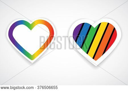 Hearts With Lgbt Colors. Vector Illustration Of Heart In Rainbow Colors Isolated On White Background