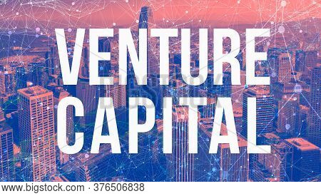 Venture Capital Theme With Abstract Network Patterns And Downtown San Francisco Skyscrapers