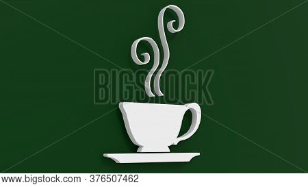 3d Rendering Of Coffe Cup Logo With A Green Background