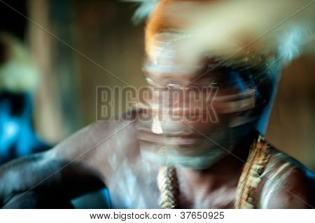 Abstract Portrait Of The Asmat Warrior
