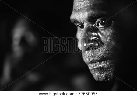 Black And White Portrait Of The Asmat Man