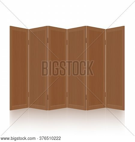 Wooden Partition, Room Divider, Folding Screen - Dark, Textured, Foldable, Mobile, Rustic, Retro Int