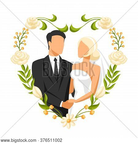 Wedding Illustration Of Bride And Groom. Married Cute Couple.