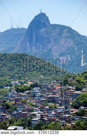Copacabana favela in Rio de Janeiro with Corcovado in the background