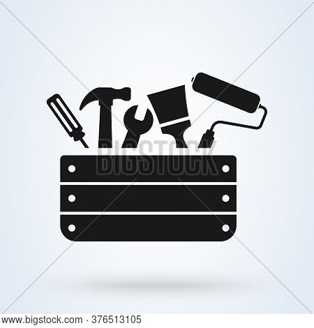 Toolbox With Instruments Inside. Workman's Toolkit. Workbox In Icon Style. Vector Illustration