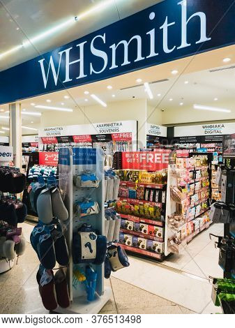Athens, Greece - February, 11 2020: A Whsmith Storefront In Athens International Airport Eleftherios