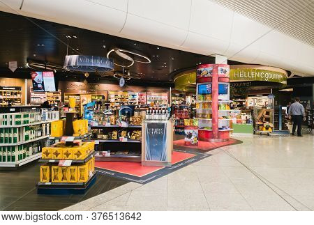 Athens, Greece - February, 11 2020: Hellenic Duty Free Shops Area With Chocolates And Spirits In Ath
