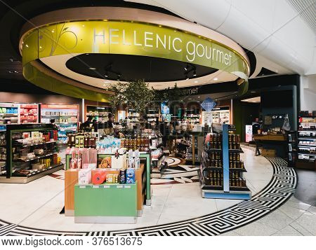 Athens, Greece - February, 11 2020: Hellenic Duty Free Shops Area With Hellenic Gourmet Shop With Di