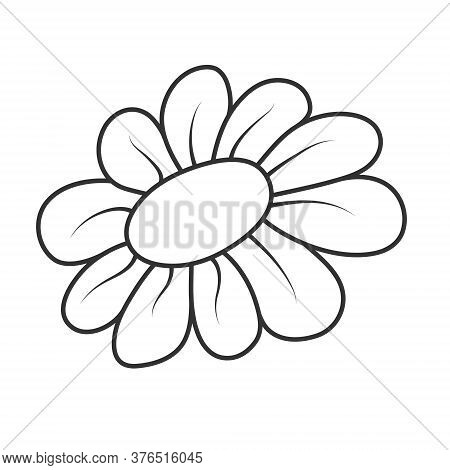 Vector Illustration Of A Flower. An Empty Outline For Scrapbooking And Coloring Books, Isolated On A