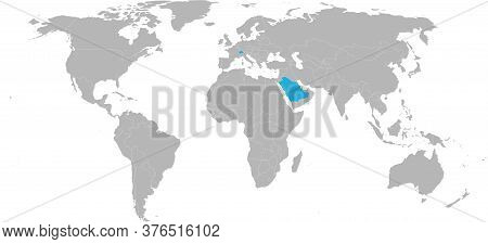 Switzerland, Saudi Arabia Countries Isolated On World Map. Trade And Travels.