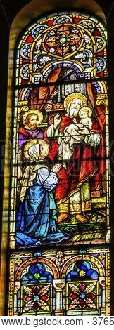 San Antonio, Texas - October 8, 2019 Baby Jesus Christ Mary Joseph Temple Simeon Stained Glass Saint