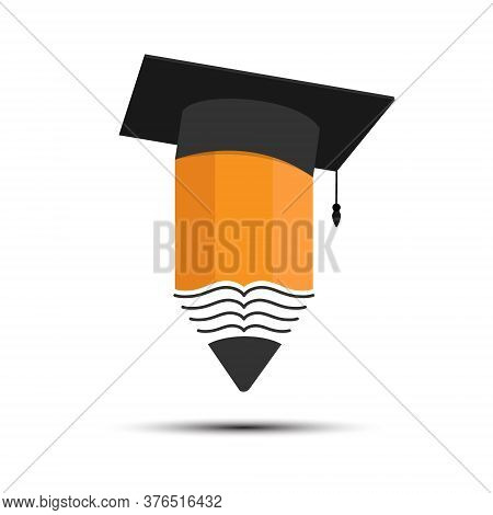 Pencil And The Cap Of A Graduate. Color Vector Illustration For Logo, Sticker And Label. Simple Vect