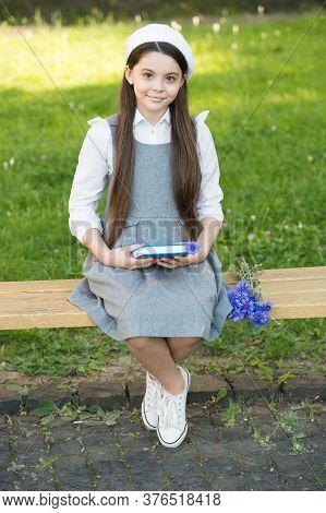 School Is Place To Grow. Happy Girl Back To School. Little Child Wear School Uniform. School Time. K