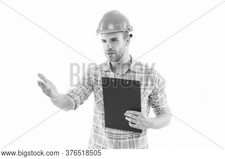 Site Inspection. Civil Engineer Or Technician Isolated On White. Engineer Or Architect At Work. Cons