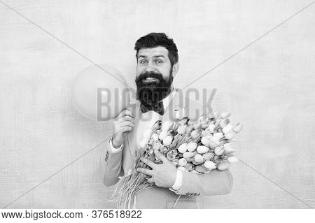 Birthday Party. Bearded Man Hipster With Flower Bouquet. 8 March. Flowers For Womens Day. Bearded Ma
