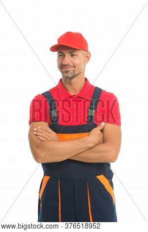 Easy And Quick. Handyman Service. Man Helpful Laborer. Repair And Renovation. Guy Worker Uniform. Bu