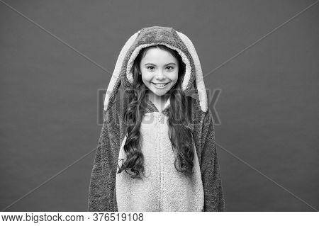 Smiling Baby Animal. Good Morning To You. Comfortable Homewear Fashion. Small Girl Wear Easter Bunny