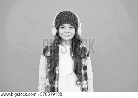 Smiling Teenager Listen Music In Headphones. Little Kid Casual Style. Autumn Mood Tune. Small Child