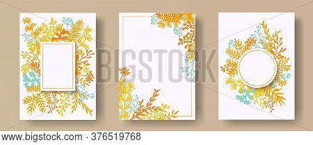 Tropical Herb Twigs, Tree Branches, Leaves Floral Invitation Cards Set. Herbal Corners Retro Invitat
